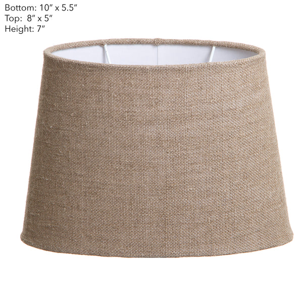 XS Oval Lamp Shade (10x7 x 8x5 x7 H) - Dark Natural Linen - Linen Lamp Shade with B22 Fixture