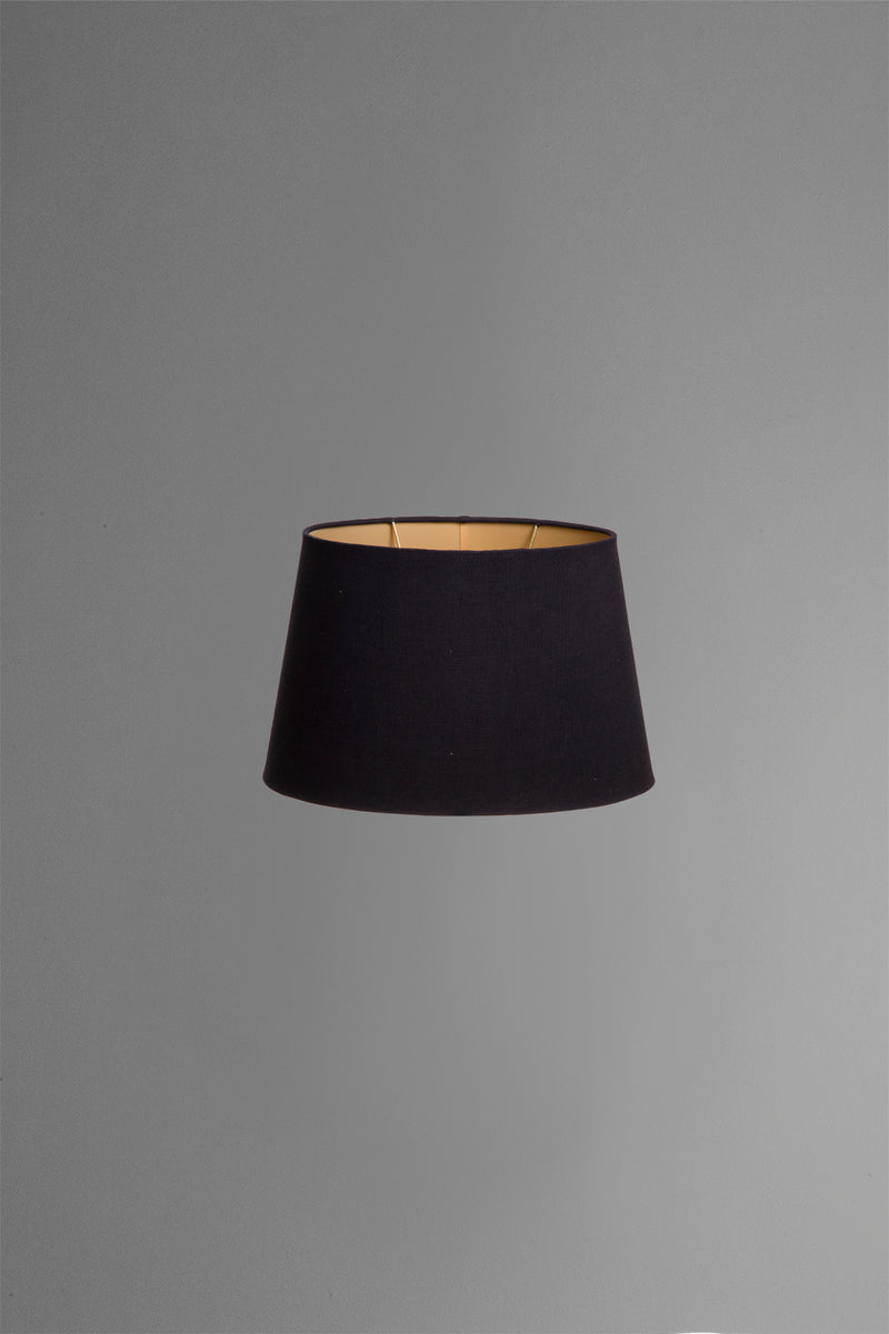 Medium Oval Lamp Shade (14x9 x 11x6 x9 H) - Black with Gold Lining - Linen Lamp Shade with B22 Fixture