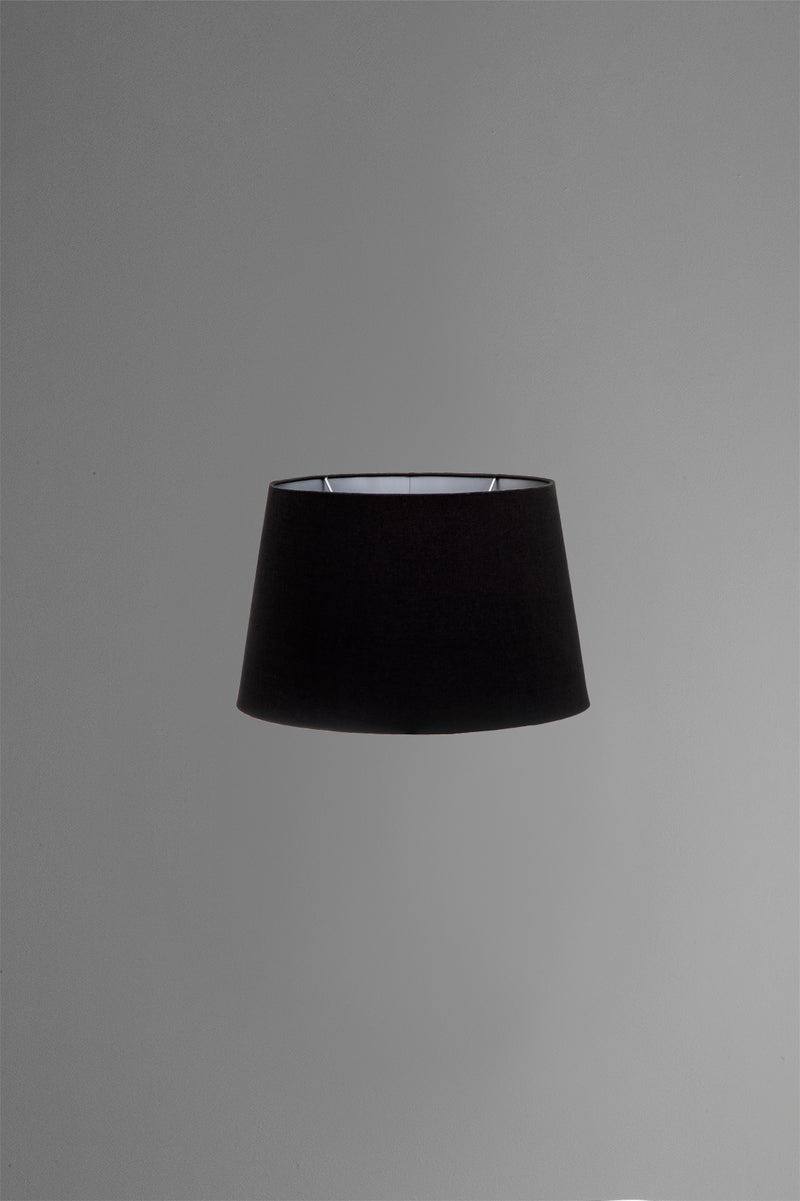 Medium Oval Lamp Shade (14x9 x 11x6 x9 H) - Black with Silver Lining - Linen Lamp Shade with B22 Fixture