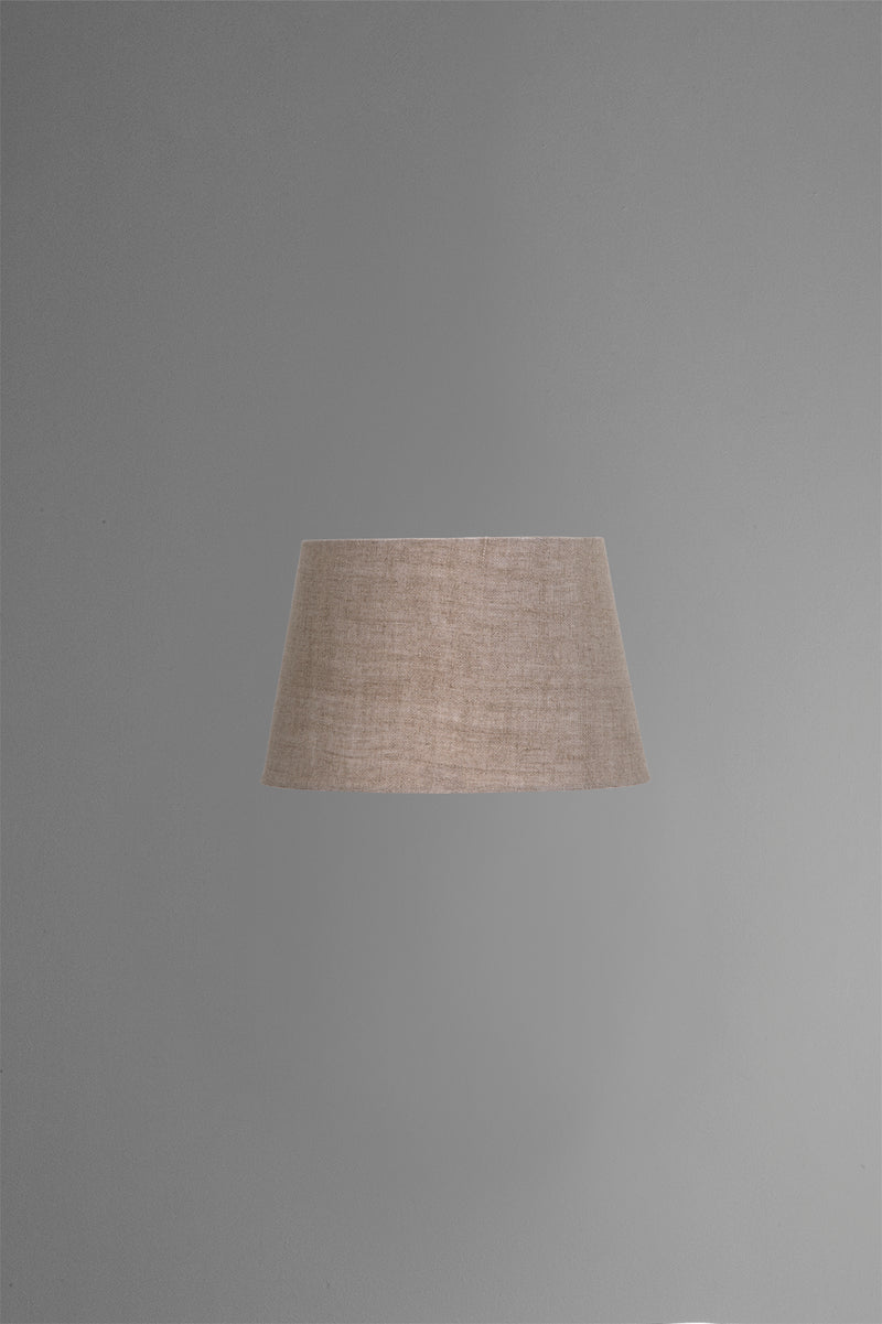 Medium Oval Lamp Shade (14x9 x 11x6 x9 H) - Dark Natural Linen - Linen Lamp Shade with B22 Fixture