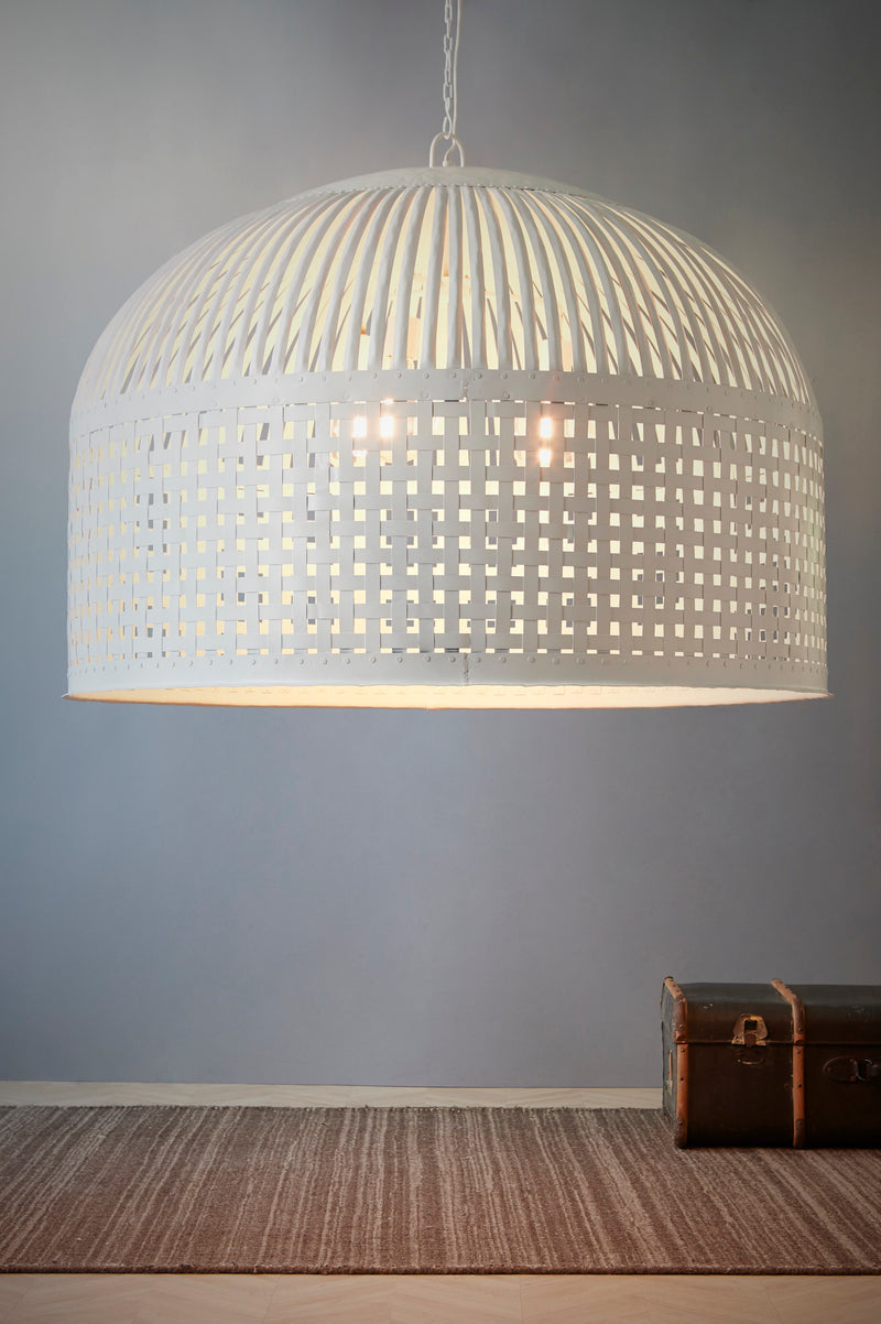 Esch Extra Large - White - Woven Iron Strips Pendant Light