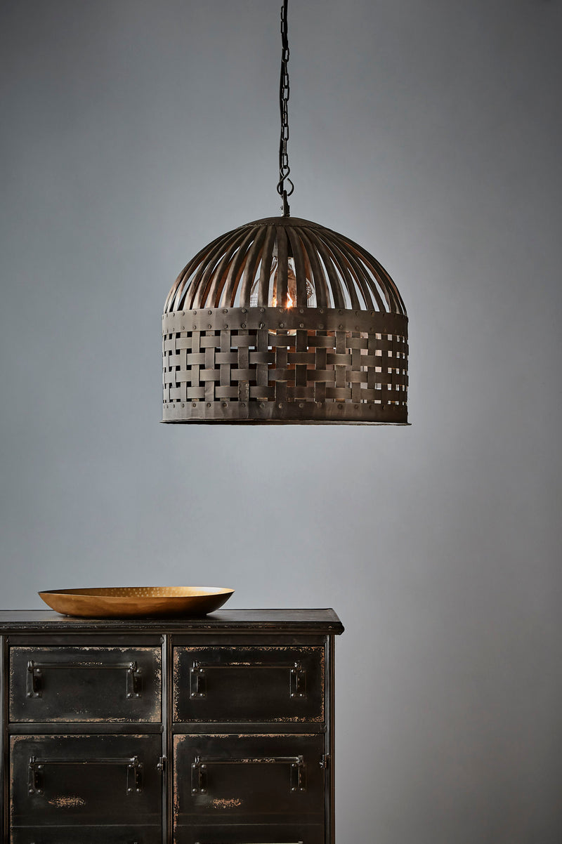 Esch Medium - Antique Black - Woven Iron Strips Pendant Light
