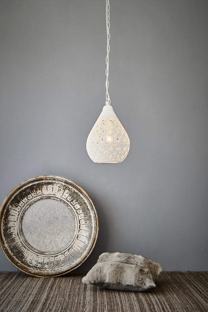 Europa Small - White - Perforated Teardrop Pendant Light