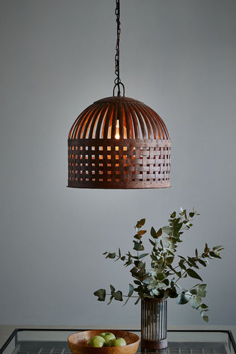Esch Medium - Rust - Woven Iron Strips Pendant Light