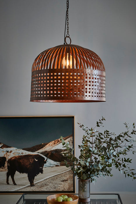 Esch Large - Rust - Woven Iron Strips Pendant Light