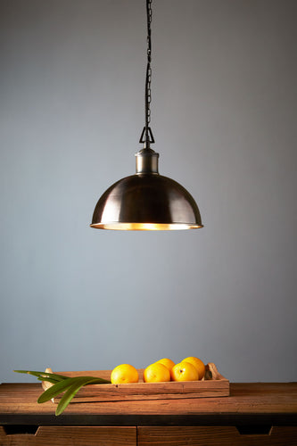 Essen Small - Antique Brass - Domed Solid Brass Pendant Light