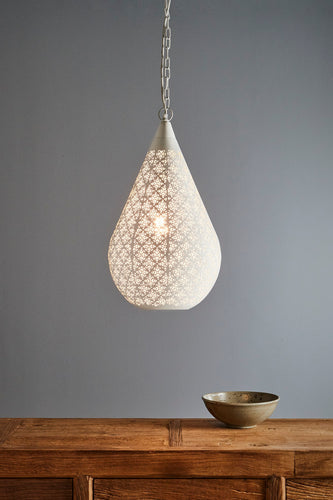 Europa Medium - White - Perforated Teardrop Pendant Light