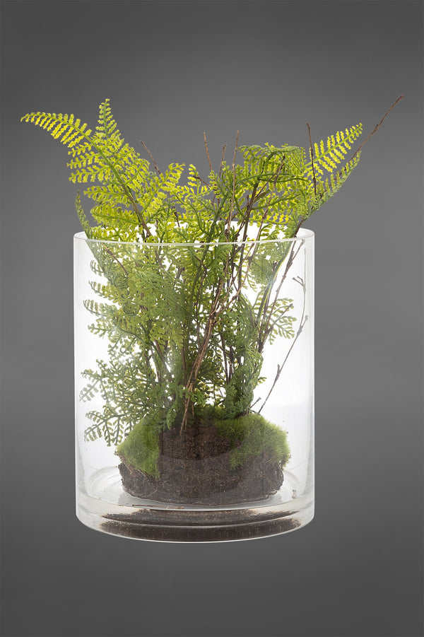 Fern - Green - 30cm Tall Artificial Plant in Water in Glass Vase