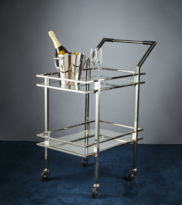 Blue Moon - Nickel - 2 Clear Glass Shelf Wheeled Bar Trolley