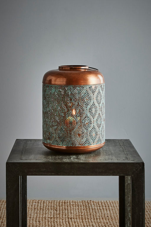 Fez Medium - Antique Copper w/Green Patina - Perforated Moroccan Hurricane Lamp
