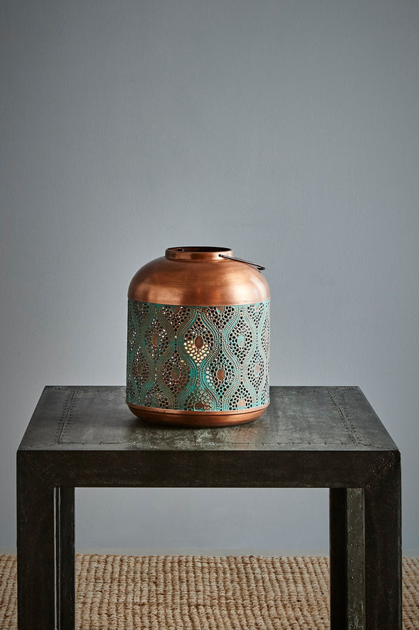 Fez Small - Antique Copper w/Green Patina - Perforated Moroccan Hurricane Lamp