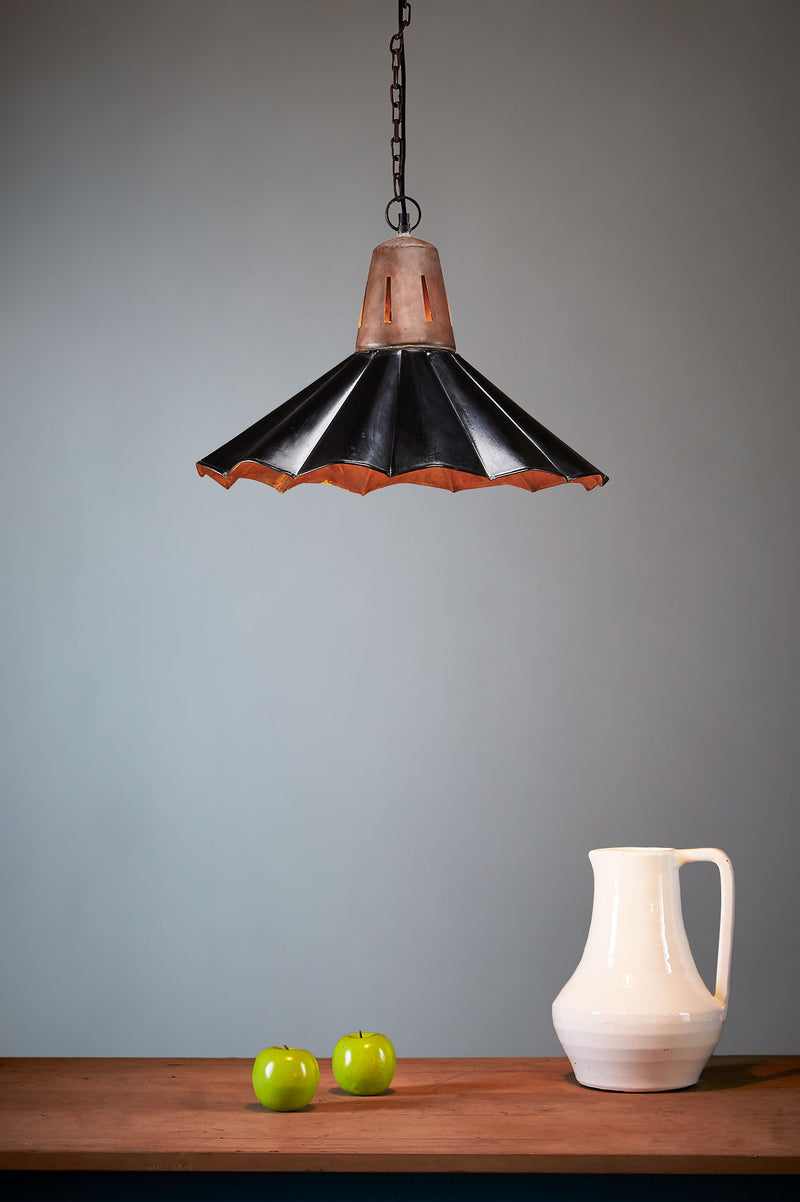 Francis - Old Black - Fluted Iron Pendant Light