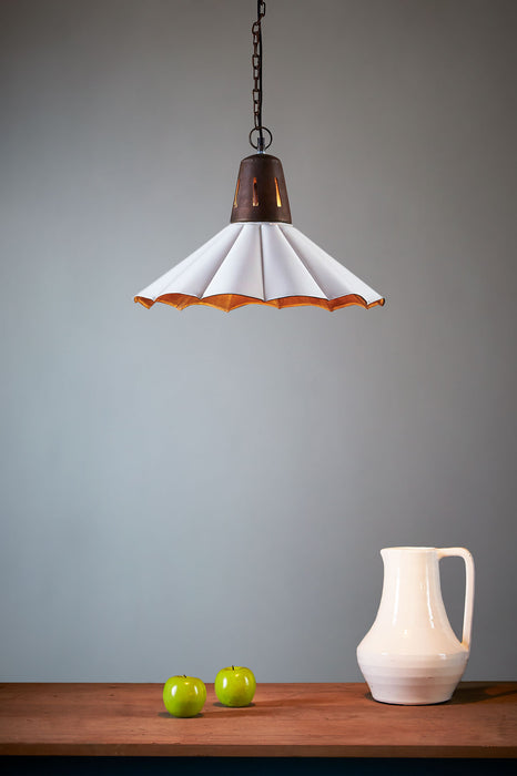Francis - Old White - Fluted Iron Pendant Light