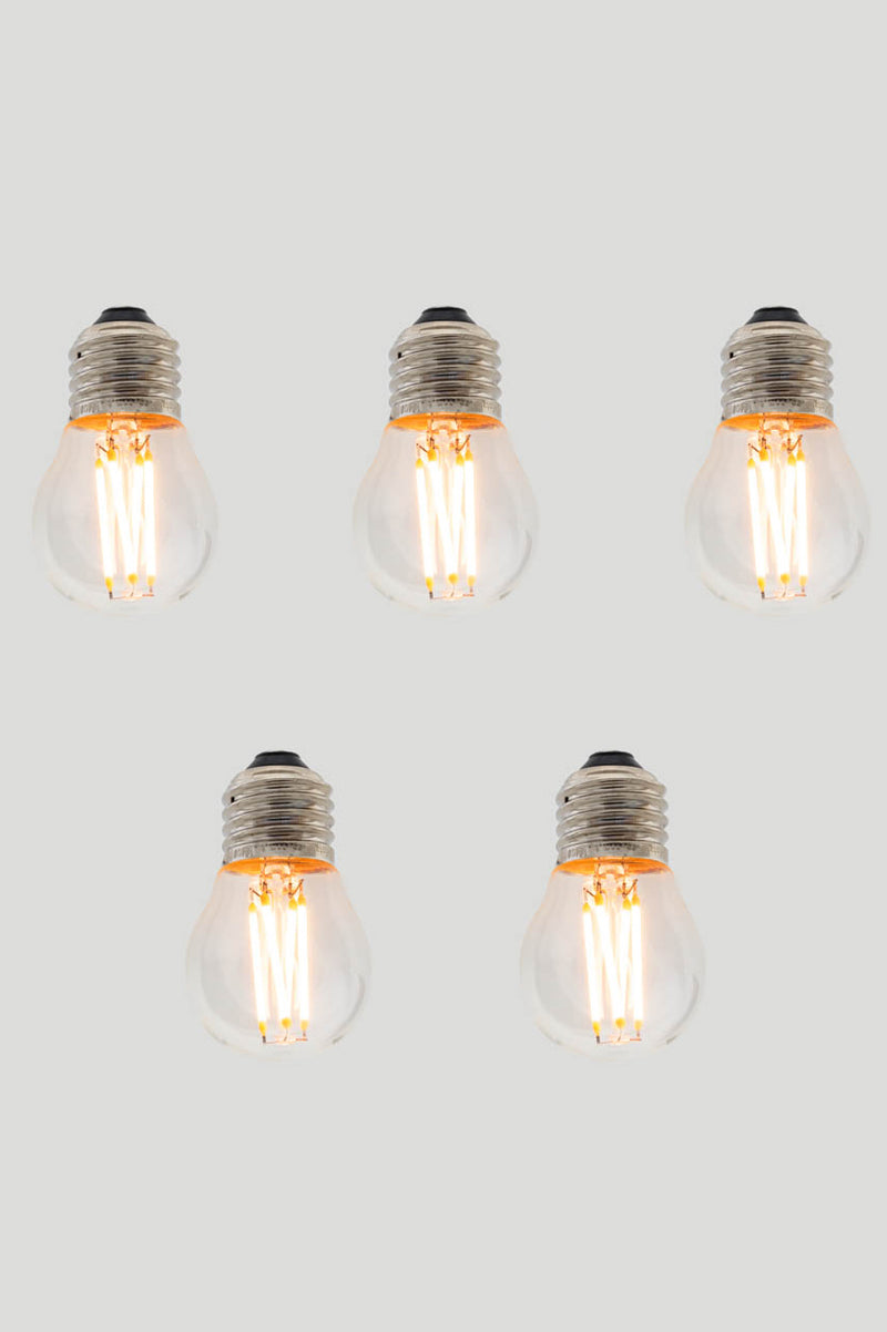 Set of 5 G45 Fancy Round E27 LED Filament - Clear Glass - 3W E27 2200k