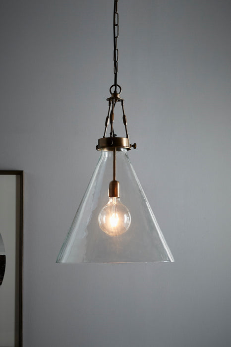 Galveston Large - Antique Brass/Clear - Hand Blown Glass Adjustable Cone Pendant Light