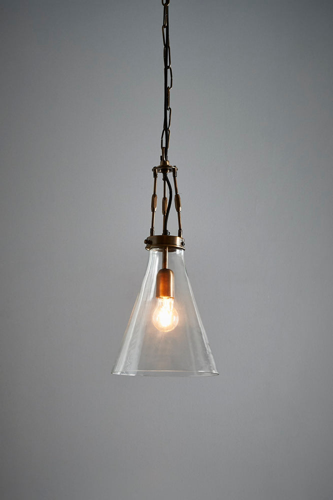 Galveston Small - Antique Brass/Clear - Hand Blown Glass Adjustable Cone Pendant Light