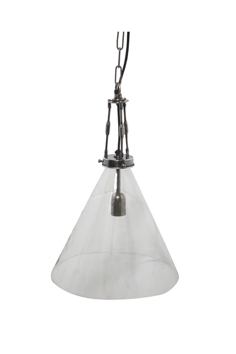 Galveston Large - Antique Silver/Clear - Hand Blown Glass Adjustable Cone Pendant Light