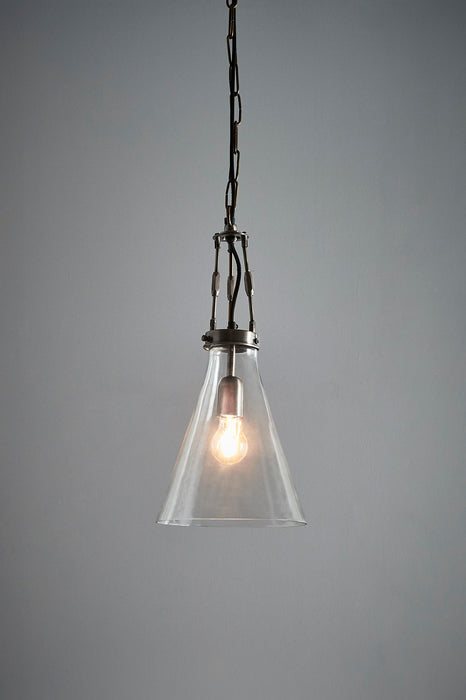 Galveston Small - Antique Silver/Clear - Hand Blown Glass Adjustable Cone Pendant Light