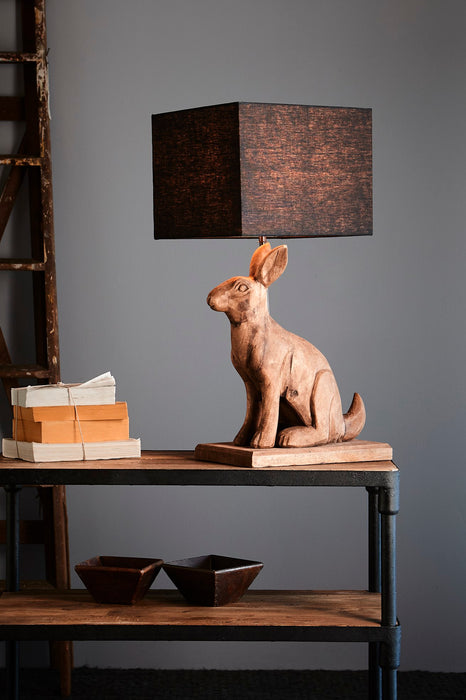 Garfunkel - Weather Barn - Large Wooden Rabbit Table Lamp