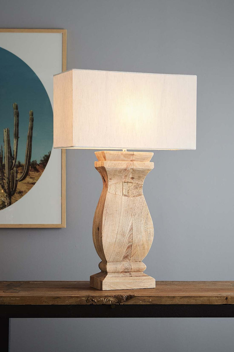 George - Natural - Rectangular Wood Ballister Table Lamp