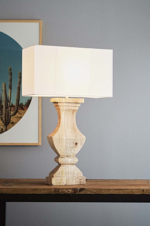 Gilbert - Natural - Rectangular Wood Ballister Table Lamp