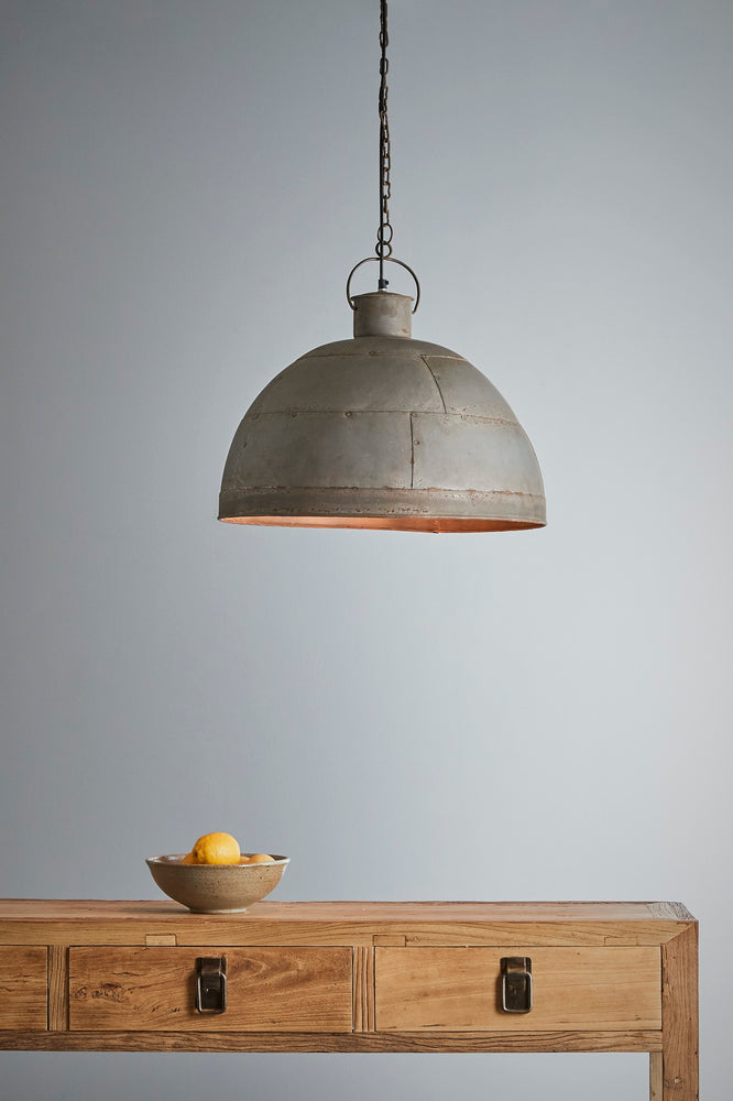 Granada Medium - Vintage Grey - Iron Riveted Dome Pendant Light