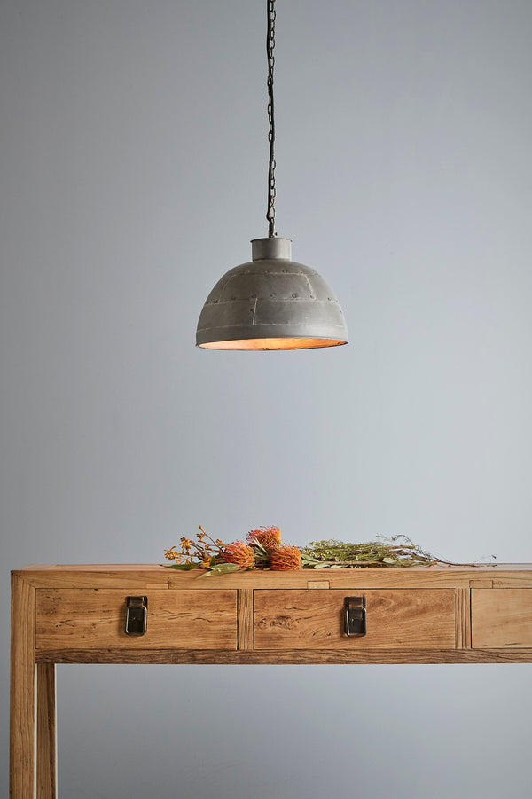 Granada Small - Vintage Grey - Iron Riveted Dome Pendant Light