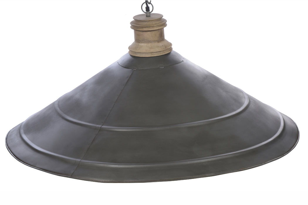 Hudson - Antique Zinc/Wood - Extra Large Iron Dish Pendant