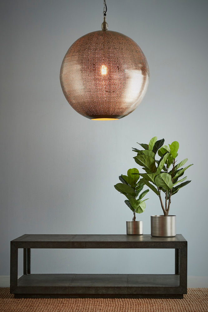 Jupiter - Nickel - Extra Large Perforated Ball Pendant Light