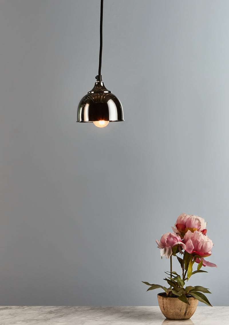 Kaya - Nickel - Small Contemporary Dome Pendant Light