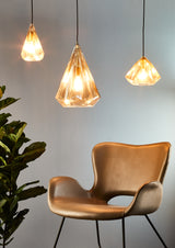 Kimberly Small - Champagne - Small Faceted Glass Teardrop Pendant Light