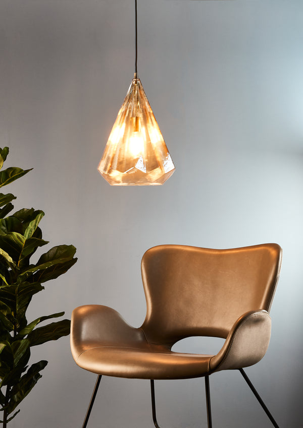 Kimberly Large - Champagne - Large Faceted Glass Teardrop Pendant Light