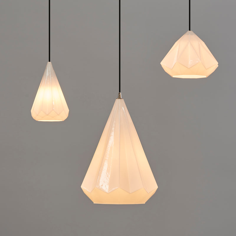 Graff - Opal White - Small Faceted Glass Droplet Pendant Light