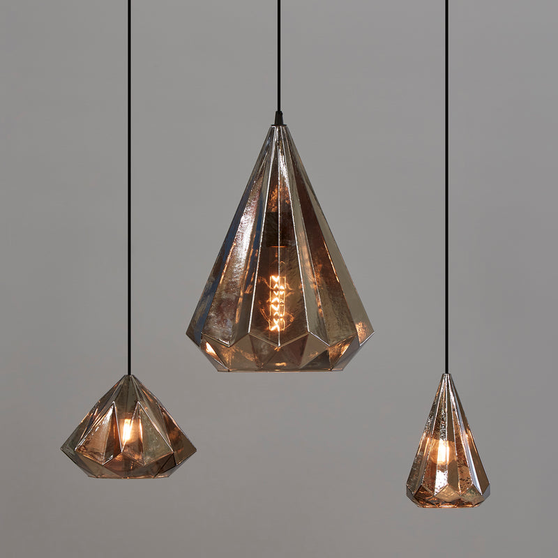 Kimberly Small - Smoke Grey - Small Faceted Glass Teardrop Pendant Light