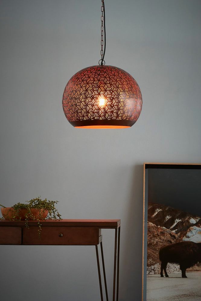 Kappa Medium - Bronze - Perforated Dome Pendant Light