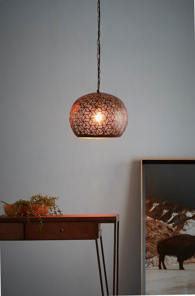 Kappa Small - Bronze - Perforated Dome Pendant Light