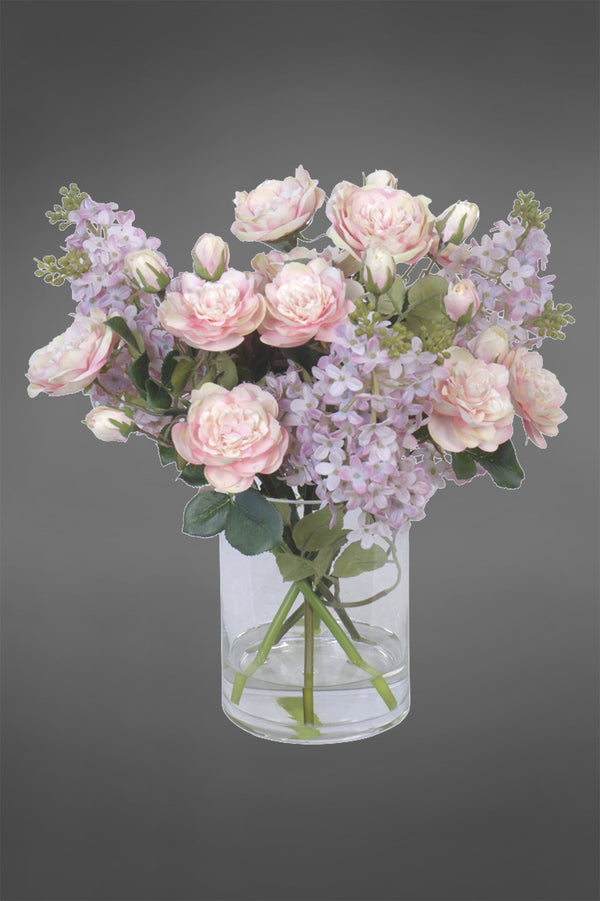 Lilac - Pink - 35cm Tall Mix of Artificial Flowers in Glass Vase