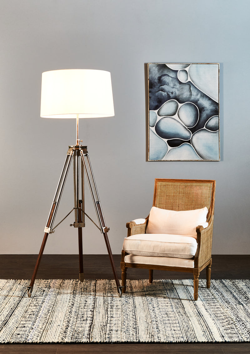 Loft - Natural and Brushed Nickel - Metal and Wood Tripod Floor Lamp with Shade