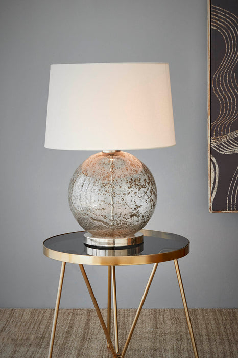 Lustre Ball Table - Clear - Stone Effect Glass Ball Table Lamp