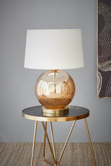 Lustre Ball Table - Pale Gold - Stone Effect Glass Ball Table Lamp
