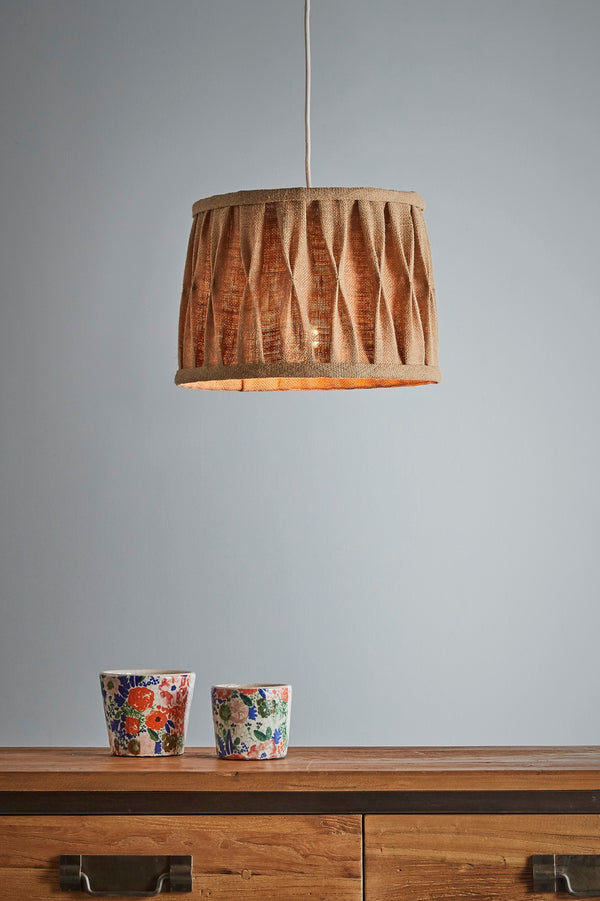 Lars - Natural - Jute Pleated Drum Pendant Light
