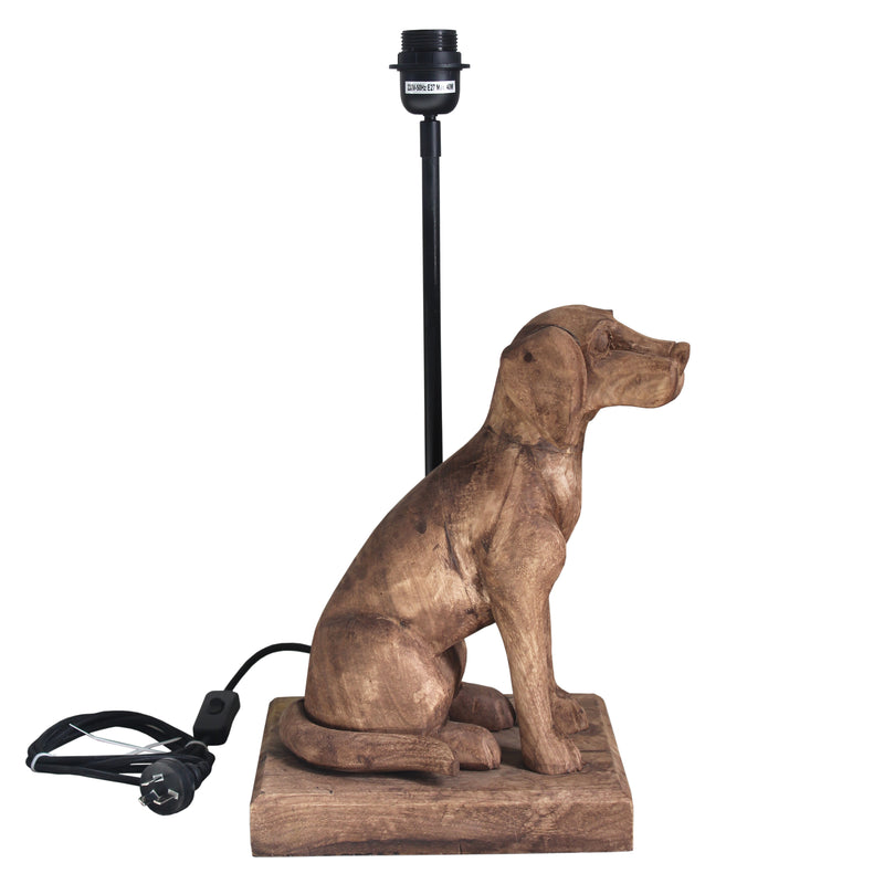 Louise - Dark Natural - Small Wooden Dog Table Lamp