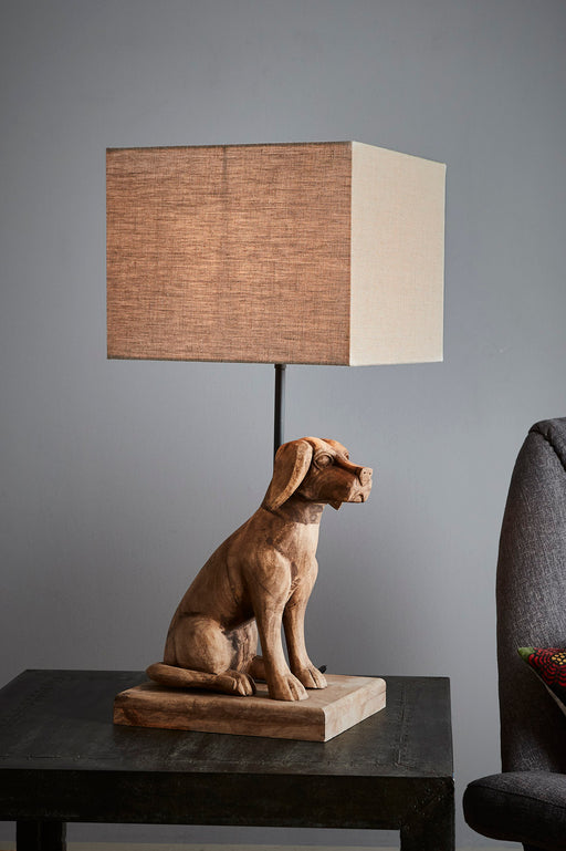 Louise - Weather Barn - Small Wooden Dog Table Lamp