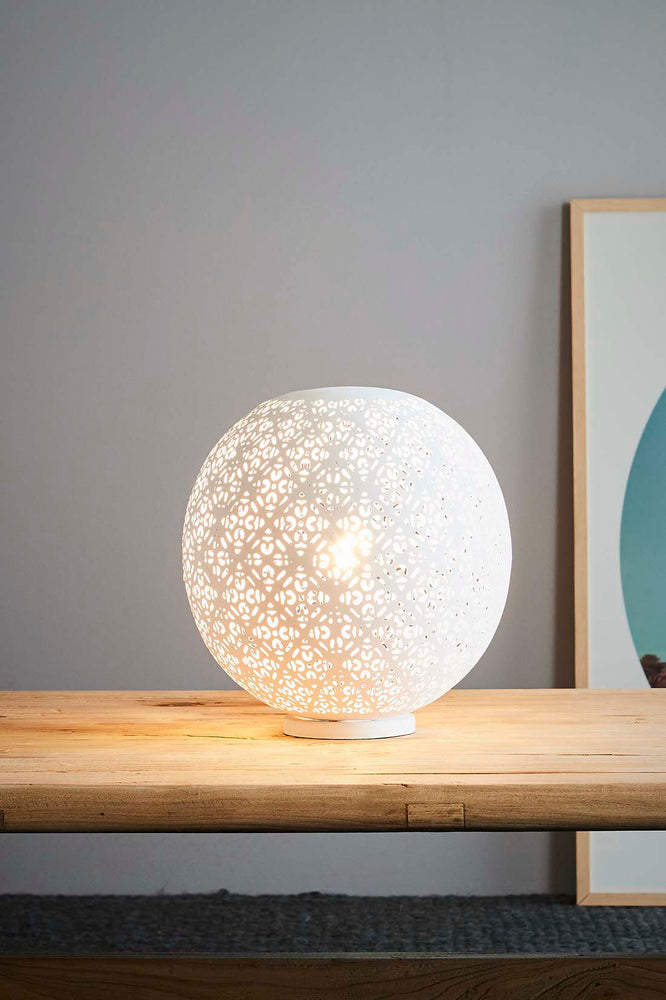 Luna - Perforated Round Table Lamp - White