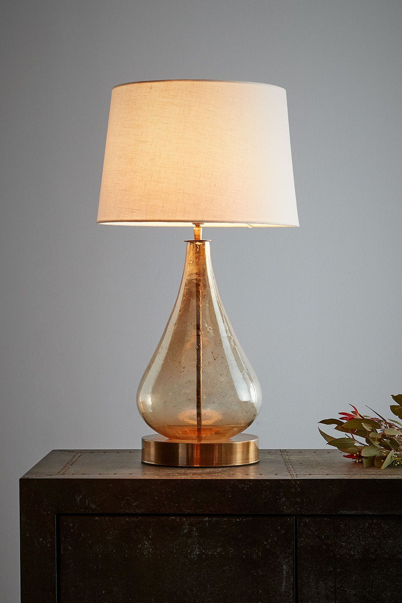 Lustre Teardrop Table - Pale Gold - Stone Effect Glass Teardrop Table Lamp