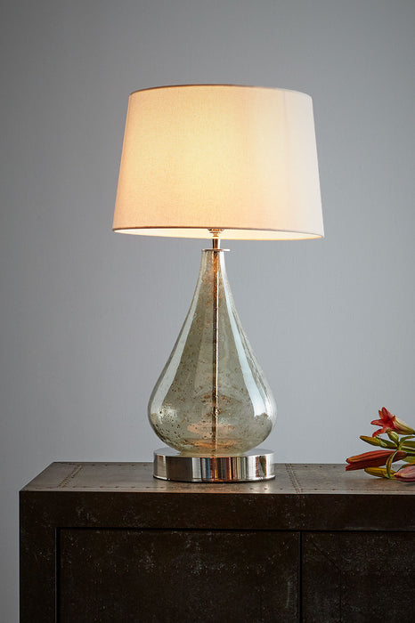 Lustre Teardrop Table - Pale Green - Stone Effect Glass Teardrop Table Lamp