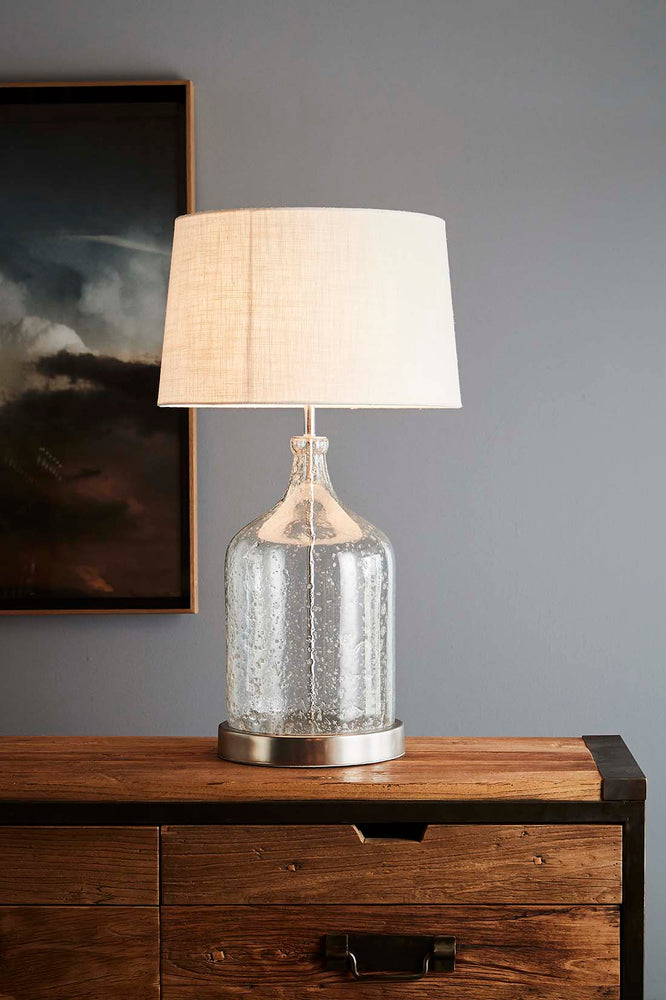 Lustre Flagon Table - Clear - Stone Effect Glass Flagon Table Lamp