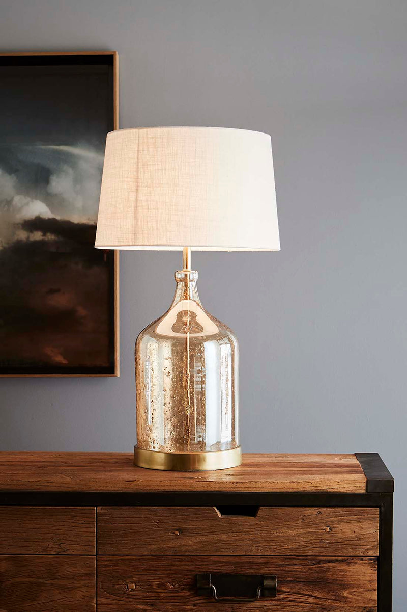 Lustre Flagon Table - Pale Gold - Stone Effect Glass Flagon Table Lamp