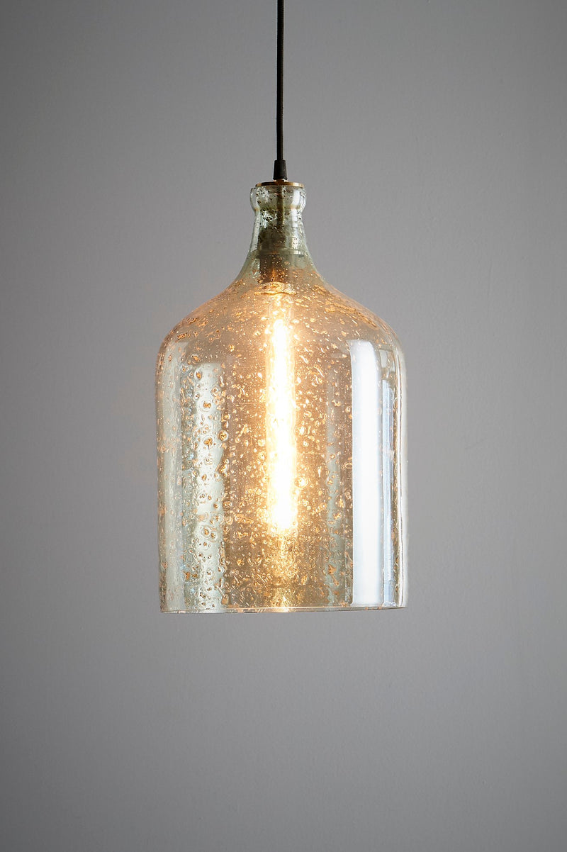 Lustre Flagon - Pale Green - Stone Effect Glass Bell Pendant Light