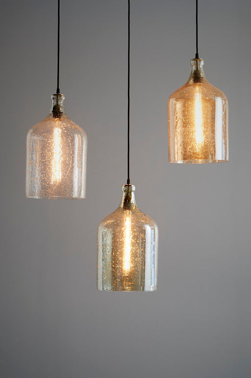 Lustre Flagon - Clear - Stone Effect Glass Bell Pendant Light